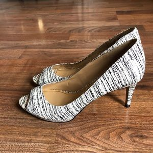 Enzo Angiolini Peep White Black Toe Heel Shoes 9